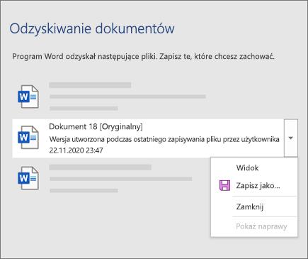 Oryginalny dokument ostatnio zapisany przez użytkownika wymienionego w okienku zadań Odzyskiwanie dokumentów