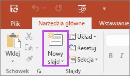 Przycisk Nowy slajd na karcie Narzędzia główne na wstążce w programie PowerPoint