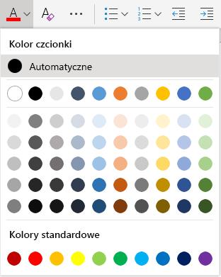 Menu wyboru koloru czcionki aplikacji Word Online