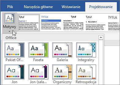 Motywy programu Word w usłudze Office 365