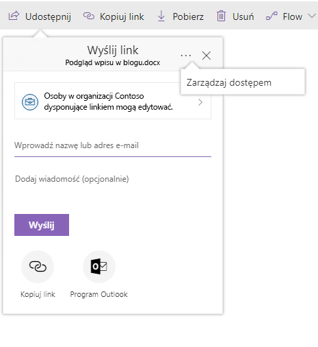 Zrzut ekranu przedstawiający okno dialogowe Udostępnianie przedstawiające łącza zarządzania dostępem po kliknięciu przycisku wielokropka.