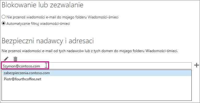 Dodawanie bezpiecznych nadawców w aplikacji Outlook Web App