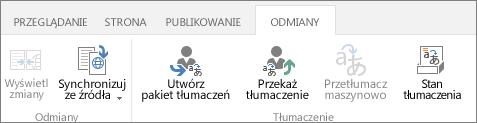 Zrzut ekranu przedstawiający kartę Odmiany w witrynie docelowej. Karta zawiera dwie grupy: Odmiana i Tłumaczenie.