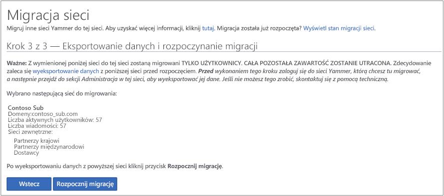 Zrzut ekranu przedstawiający krok 3 z 3 — eksportowanie danych i rozpoczynanie migracji
