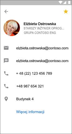 Karta profilu z żółtą gwiazdką, wskazująca, że ten kontakt jest ulubiony