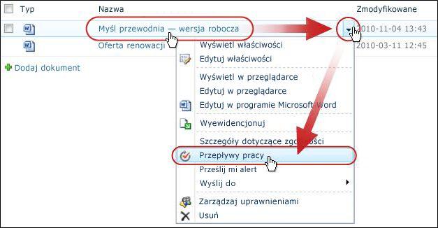 Kliknięcie pozycji Przepływy pracy w menu rozwijanym