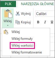 Polecenie Wklej z widoczną pozycją Wklej wartości w aplikacji Excel Web App