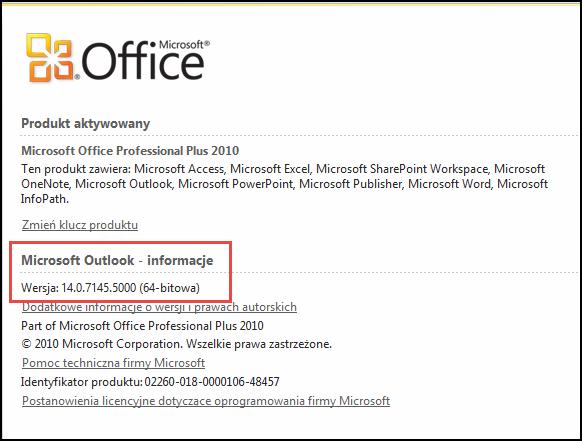 Zrzut ekranu przedstawiający stronę, na której można sprawdzić wersję programu Outlook 2010, w obszarze Microsoft Outlook — informacje