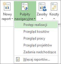 Menu Pulpit nawigacyjny na karcie Raport