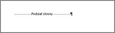 Podział strony u dołu strony w programie Word