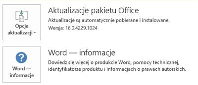 Po zainstalowaniu pakietu Office za pomocą technologii Szybka instalacja informacje o aplikacjach i aktualizacjach wyglądają tak.