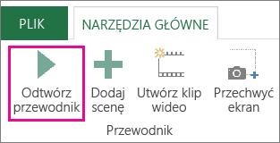 Przycisk Odtwórz przewodnik w oknie dodatku Power Map