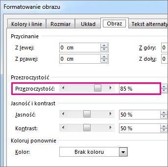 Zrzut ekranu przedstawiający okno dialogowe Formatowanie obrazu w programie Publisher