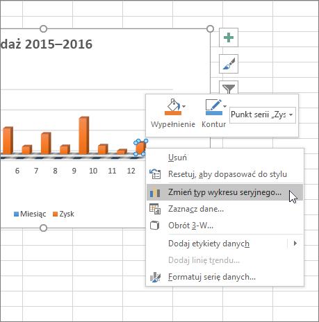 Kliknij wykres prawym przyciskiem myszy i zobacz opcje formatowania