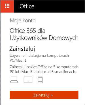Strona Moje konto w Sklepie Office z widocznym przyciskiem Zainstaluj