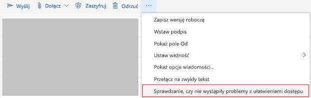 Narzędzie wyszukiwanie problemów z ułatwieniami dostępu w aplikacji Outlook online