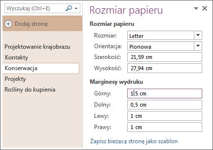 Zapisywanie strony jako szablonu