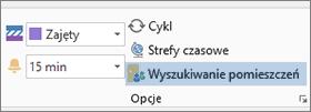 Przycisk Wyszukiwanie pomieszczeń w programie Outlook 2013