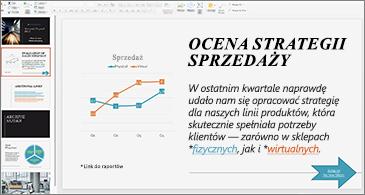 Prezentacja z linkami sformatowanymi przy użyciu różnych kolorów
