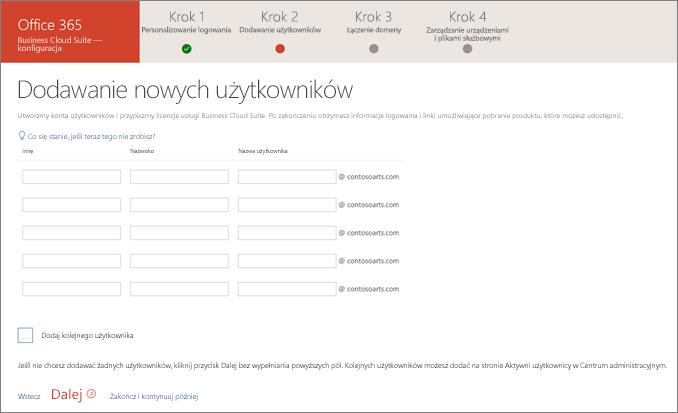 Zrzut ekranu przedstawiający dodawanie dwóch nowych użytkowników w kreatorze konfiguracji