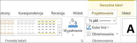 Karta Narzędzia tabel