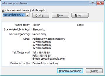 Edytowanie zestawu informacji służbowych w programie Publisher 2010