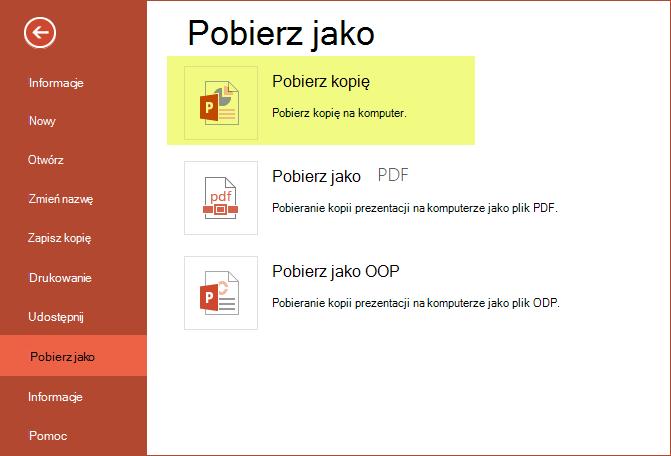 Używanie pobierania kopii w celu zapisania prezentacji na komputerze
