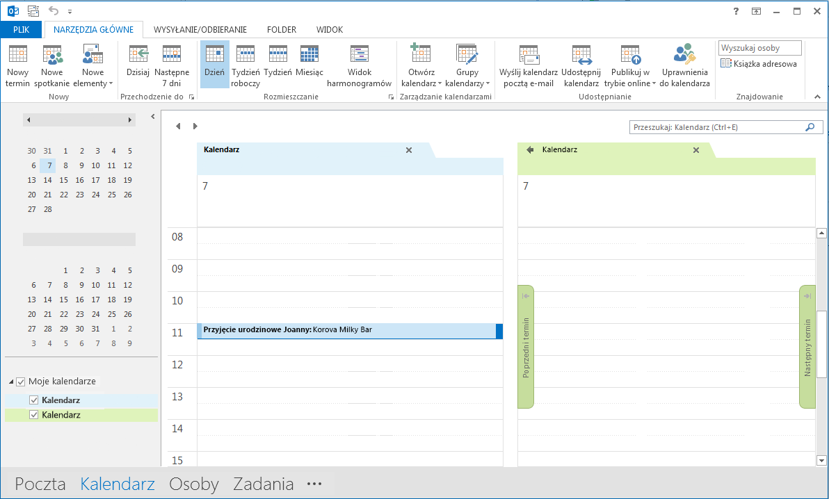 Kalendarze są wyświetlane obok siebie w okienku odczytu.
