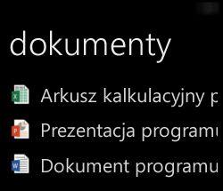 Dokumenty pulpitu wyświetlane na telefonie Windows Phone, gdy jest uruchomiony pakiet Office Remote