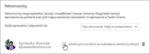 Zrzut ekranu przedstawiający pole wyboru Zezwól pełnomocnikowi na wyświetlanie zdarzeń prywatnych.