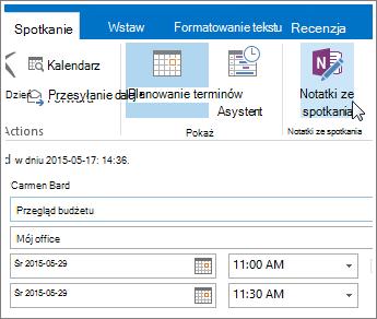 Zrzut ekranu: przycisk Notatki ze spotkania programu OneNote w programie Outlook.