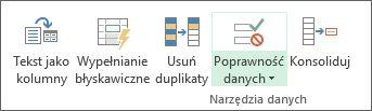 Funkcja sprawdzania poprawności danych znajduje się na karcie Dane, w grupie Narzędzia danych