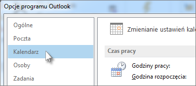 W obszarze Opcje programu Outlook kliknij pozycję Kalendarz.