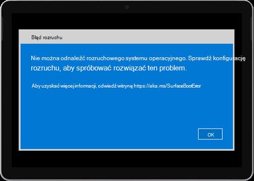 """Niebieski ekran z tytułem """"Błąd rozruchu"""" i komunikatem z informacją o konfiguracji rozruchu."""
