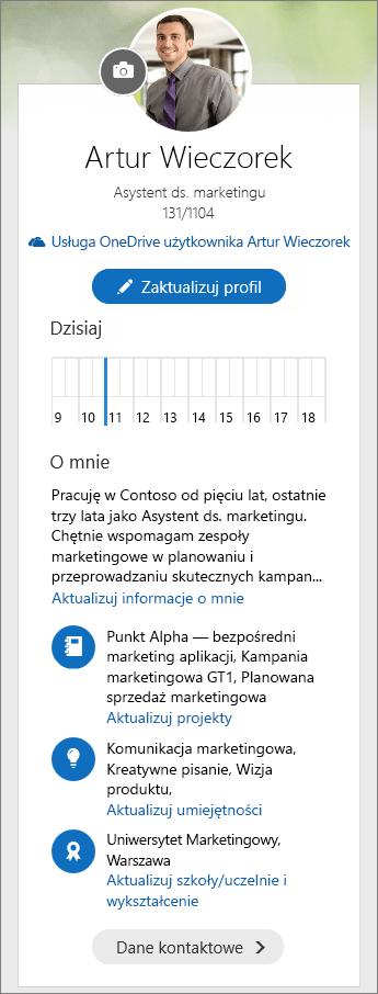 Zrzut ekranu przedstawiający domyślną zawartość obszaru O mnie w panelu przełączania aplikacji Delve.