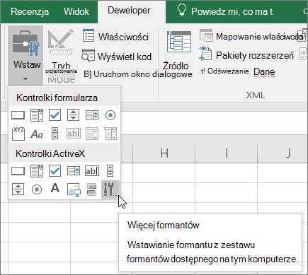 Kontrolki ActiveX na Wstążce