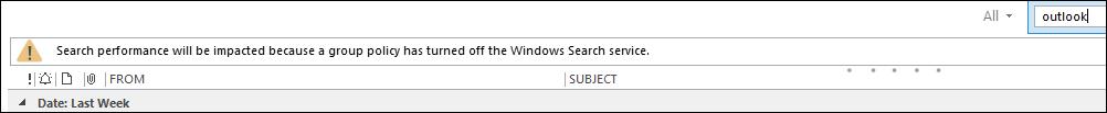Ostrzeżenie dotyczące wyszukiwania w programie Outlook