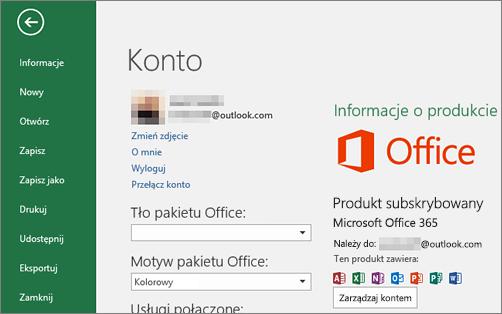 Konto Microsoft skojarzone z pakietem Office jest wyświetlane w oknie Konto aplikacji pakietu Office