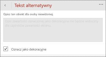 Opcja Oznacz jako dekoracyjne zaznaczona w oknie dialogowym tekst alternatywny programu PowerPoint dla telefonu Windows Phone.