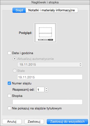 Okno dialogowe Nagłówek i stopka w programie PowerPoint 2016 dla komputerów Mac