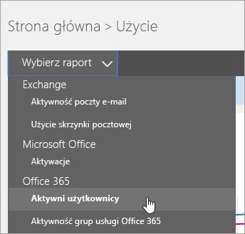 """W menu rozwijanym """"Wybierz raport"""" kliknij pozycję """"Aktywni użytkownicy"""""""