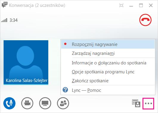 Zrzut ekranu: przycisk nagrywania