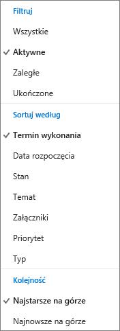 Wybierz sposób filtrowania, sortowania i określania kolejności zadań na liście Zadania w usłudze Outlook.com