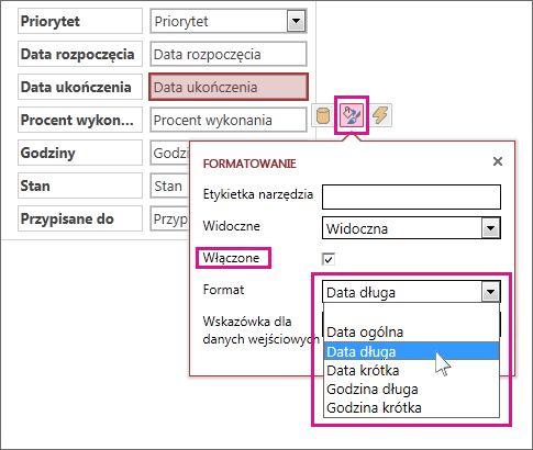 Obraz menu Formatowanie w aplikacji programu Access.