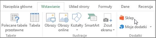 Zrzut ekranu przedstawiający część karta Wstawianie na wstążce programu Excel z kursorem wskazującym w magazynie. Wybierz pozycję Magazyn, aby przejść do sklepu Office i poszukaj dla dodatków programu Excel.