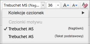 Zrzut ekranu przedstawiający opcje Czcionki motywu dla obszarów Nagłówki i Treść dostępnych za pośrednictwem kontrolki listy rozwijanej Czcionka w grupie Czcionka na karcie Narzędzia główne.