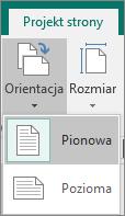 Karta Projekt strony z wybraną opcją Orientacja oraz opcjami Pionowa i Pozioma.