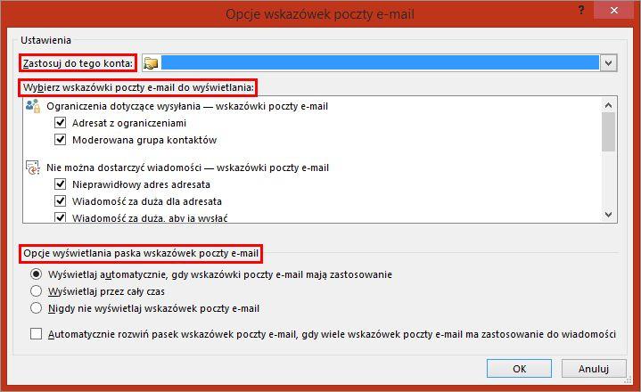Opcje wskazówek poczty E-mail programu Outlook