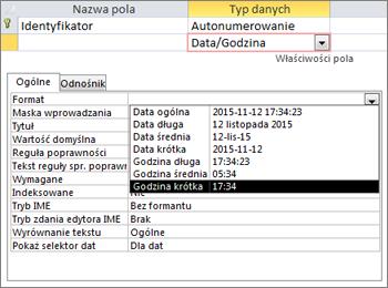 Właściwość Format pola typu Data/godzina