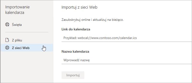 Zrzut ekranu przedstawiający importowania danych z opcji sieci web